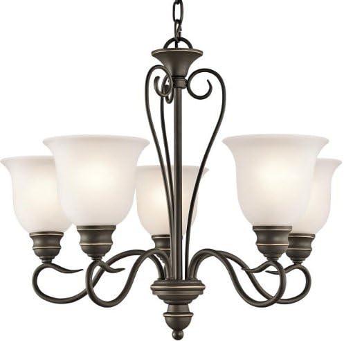 Kichler 42906OZ, Tanglewood Glass Chandelier Lighting, 5 Light, 500 Total Watts, Olde Bronze