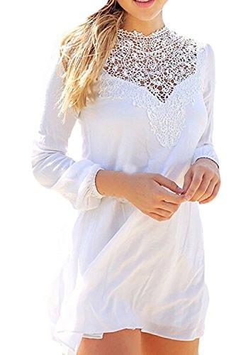 Donna Vestito Elegante Maniche Lunghe Vintage In Pizzo Colori Misti Bianco Estivo Corto Hippie Cocktail Vestito Spiaggia Casual Abito