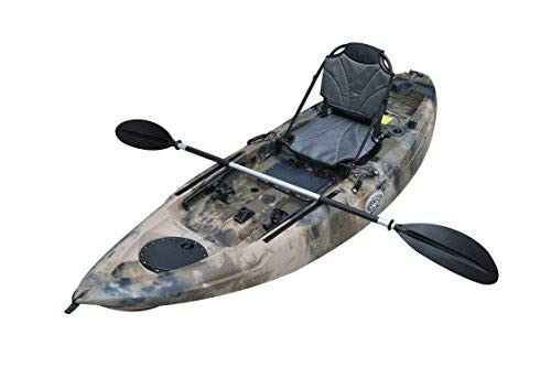 BKC FK285 9.5' Sit On Top Single Fishing Kayak W/Seat and Paddle Included Solo Sit-On-Top Angler Kayak