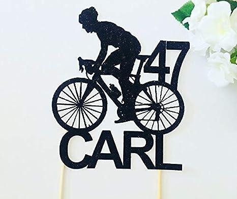 Decoración para tarta de boda, cumpleaños, ciclismo, bicicleta, ciclista, aniversario, decoración para tartas, fiestas y eventos: Amazon.es: Hogar