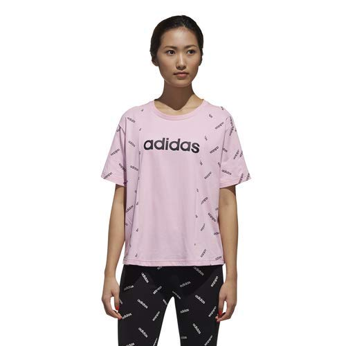 (adidas Women's All Over Print Tee, True Pink/Black, Medium)