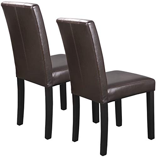ZENY Set of 6 Solid Wood Leatherette Padded Parson Chair, Dining Chair Brown Furniture Urban Style by ZENY (Image #2)