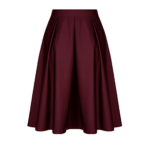 DEATU Women Skirt Ladies Elegance Vintage Solid Princess Ruffled Cocktail Party A-line Swing Skirt(Wine,2XL)