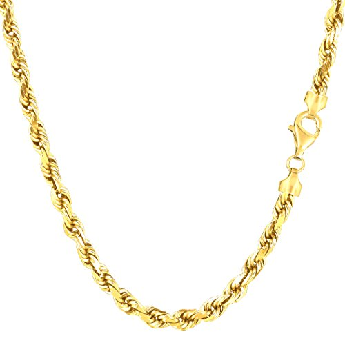 (14k Yellow Solid Gold Diamond Cut Rope Chain Necklace, 4.0mm, 24