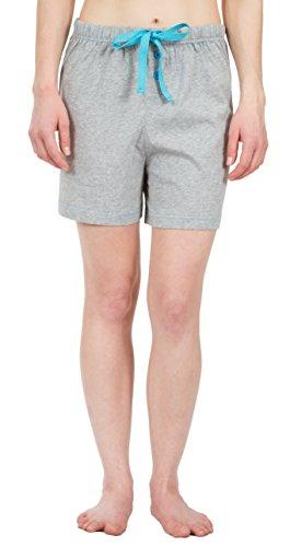 Leisureland Women's Cotton Knit Pajama Sleepwear Lounge Boxer Shorts Gray (Gray Boxer Shorts)