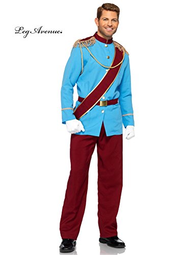Halloween 2017 Couples Costume Ideas - Leg Avenue Disney 4Pc. Prince Charming Costume Jacket with Fringed Epaulettes Sash Belt Pants, Blue/Burgundy, Medium