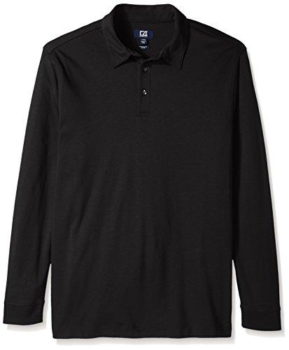 Cutter & Buck Embroidered Dress Shirt - Cutter & Buck Men's Big and Tall L/s Belfair Pima Polo, Black, 4X