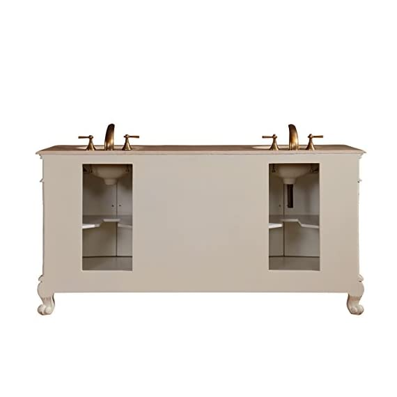 """Silkroad Exclusive Countertop Marble Stone Double Sink Bathroom Vanity with Cabinet, 72"""", Cream - Traditional Bathroom Vanity Double Sink Cabinet with White Oak Finish Item comes with Cream Marfil Marble Stone Top and White Ceramic Sink Material: Natural Stone Top, Solid Wood Structure & CARB Ph2 Certified Panels - bathroom-vanities, bathroom-fixtures-hardware, bathroom - 41XJGvcVteL. SS570  -"""