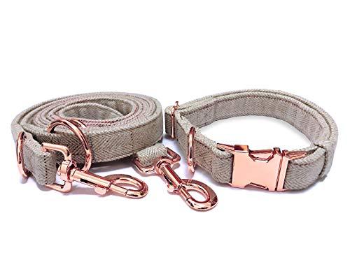KUYOUGOU Stylish Dog Collar and Leash  with Rose Gold Rings