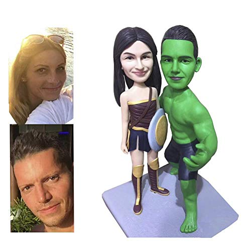 Custom Superhero Bobblehead Personalized Figurine Gifts Based On Customer's Photos, Two People, DHL Expedited Shipping Service (Head Custom 2 Bobble)