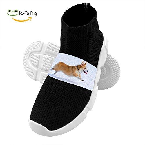 OmyHD Running Corgi Dog Kids Lightweight High Heel Shoes Mesh Outdoor Sports Sneakers