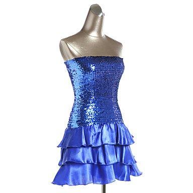 Noche Azul Morado Negro Ropa Lentejuelas Ropa Blue Organdí de Oro Poliéster de Dancewear Plata Paramujer Vestidos Noche SILVER Rojo Fucsia FEfZZq