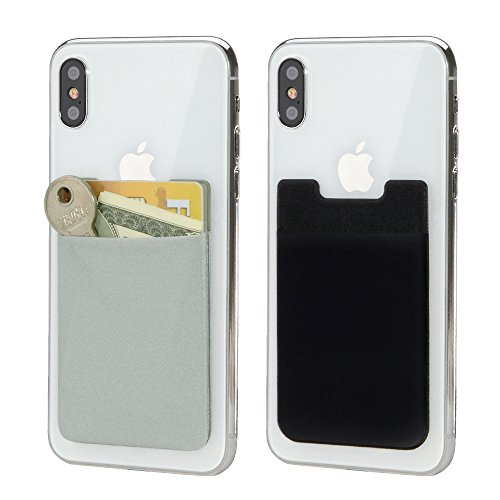 Phone Card Holder- BAIMAHUI Stretchy Ultra Thin 3M Adhesive Lycra Pouch Stick on Back of Phone as iPhone Card Holder, Credit Card Holder, Card Wallet for Cellphone 2 Pack (Black Gray)