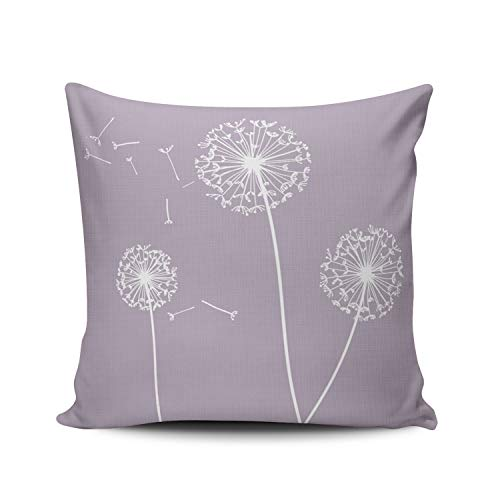 WULIHUA Decorative Throw Pillow Covers Lilac Lavender and Mauve Dandelions Decorative European Outdoor Cushion Cover Pillowcase Size 26x26 Inch Simple and Elegant Design Double Sided Printed