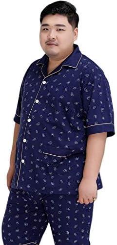 パジャマ CHJMJP プラスサイズショートパンツパジャマメンズコットンパジャマは男性のシンプルなショートスリーブカジュアルパジャマのために男性を設定します。 (Color : スカイブルー, Size : 5XL)