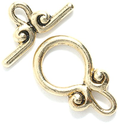Shipwreck Beads Pewter Toggle Clasp, 20mm, Metallic, Antique Gold, 4-Set