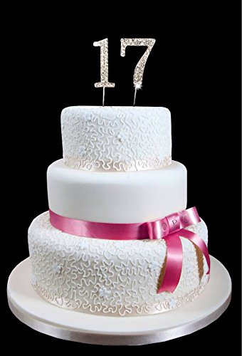 17th Birthday Wedding Anniversary Number Cake Topper With Sparkling Rhinestone Crystals