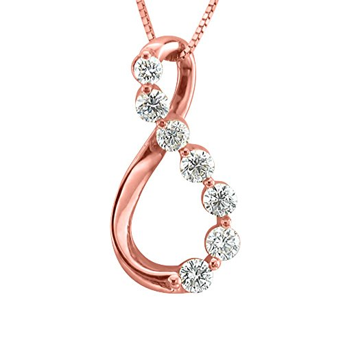 14K Pink Gold 7 Stone Journey Diamond Pendant Necklace (3/8 Carat)
