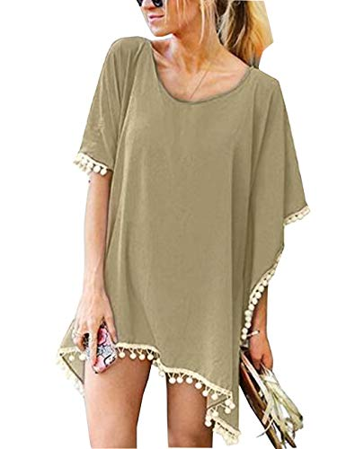 Womens Swimsuit Cover Ups Beach Bikini Bathing Suit Cover Up Light Brown