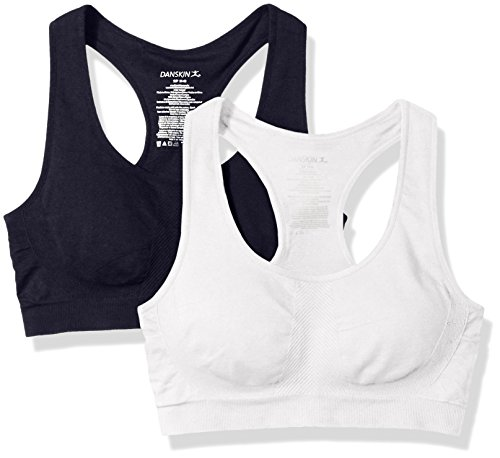 Danskin Women's Removable Cup Seamless Bra-2 Pack, Midnight Navy/White, XL