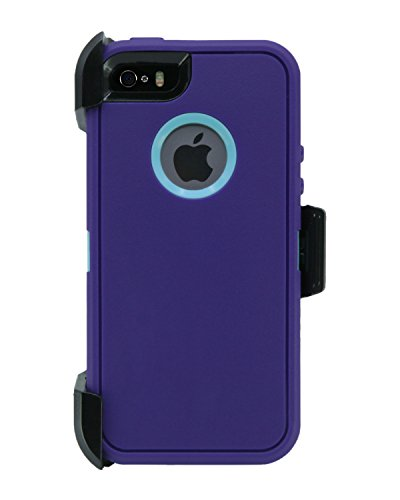 WallSkiN Turtle Series Cases for iPhone 5/5S/5SE (Only) Full Body Protection with Kickstand & Holster - Ambition (Purple/Beau Blue)
