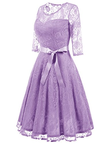 Vestido Elegante Honor Manga Una 4 De para Verano Mujer Dressystar Encaje 3 Línea Lavender Dama CqaxWXT