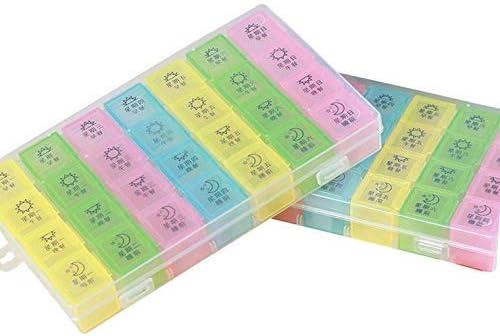 ポータブルサプリメントオーガナイザー(7日間/ 1日4回)で、防湿設計とビタミンサプリメントと薬物を保持するための大区画5