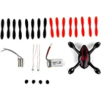 YIPBOWPT for Hubsan X4 H107C Quadcopter Spare Parts Crash Pack, Includes Body Shell, 8x Pair of Black and Red Propellers, LiPo Battery, 4x Rubber Feet, 2x Motors, 2x LED Lights