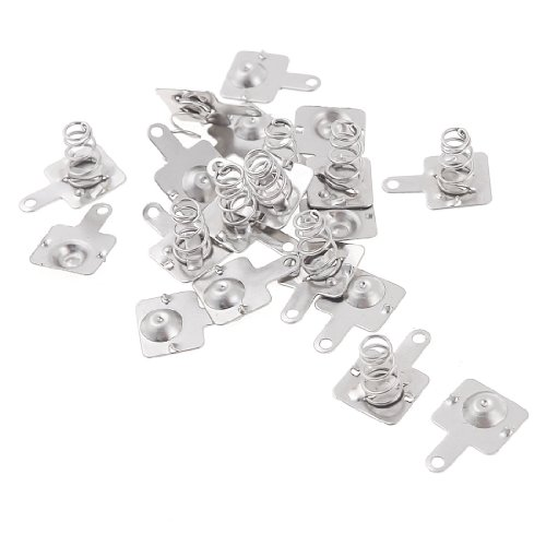 Spring Plate (10 Pairs Silver Tone Metal Battery Spring Plate Set for AA AAA)