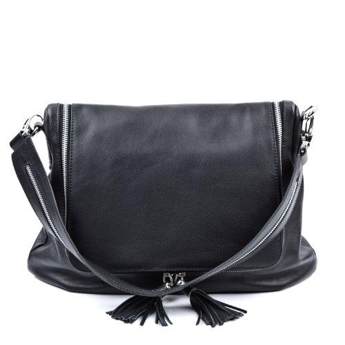 BACCINI bolso de hombro ANNY: cartera para mujer GRANDE - bolso de asas de cuero negro - (38 x 35 x 13cm)