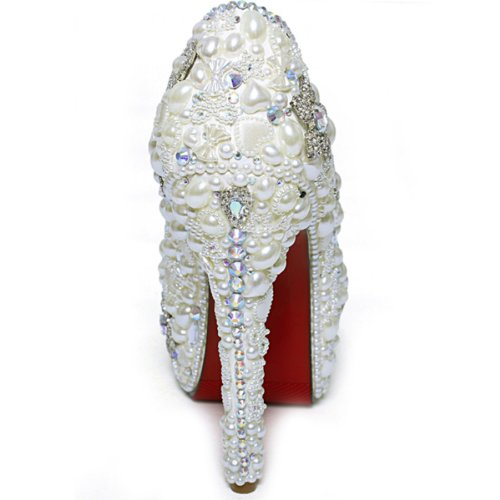 Stunning 4 Pearl Silver Sho168820 Party Shoes Wedding Heels High 5 Inches Covered Platform rArZfqH