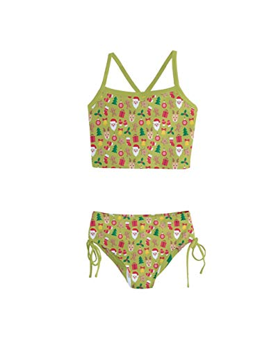 PattyCandy Girls Olive Joyful Santa Christmas Kids Tankini Swimsuit - 2 ()