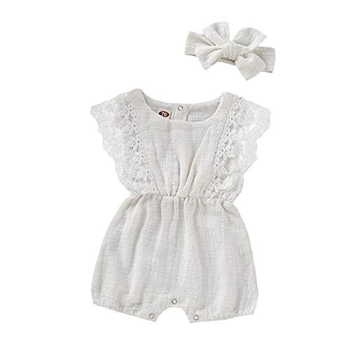 ZOELNIC Infant Girl Linen Romper Baby Girls Sleeveless Lace Jumpsuit + Bow Headband Toddlder Kids Overalls Summer Outfits (White, 6-12 Months)