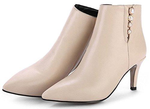 Side Mid Short Heeled Women's Ankle Zipper Stiletto Fashion Beige Toe Easemax High Pointy Booties zIfEE
