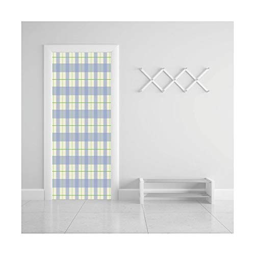 HappyShopDecoration Door Decal Wall Murals 3D Vinyl Wallpaper Stickers for Room Decor,30.3x78.7 inches,Checkered -