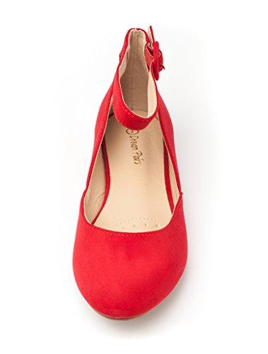 DREAM PAARS Frauen Revona Low Wedge Ankle Strap Wohnungen Schuhe Rotes Wildleder