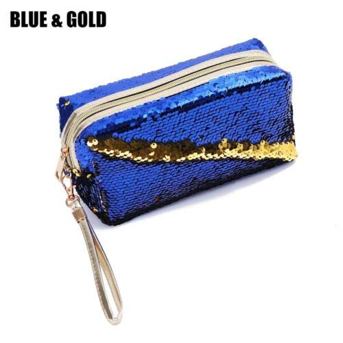 Handbags Pencil Case Sequins Makeup Pouch Cosmetic Bag Mermaid Purse (size - BlueGold)