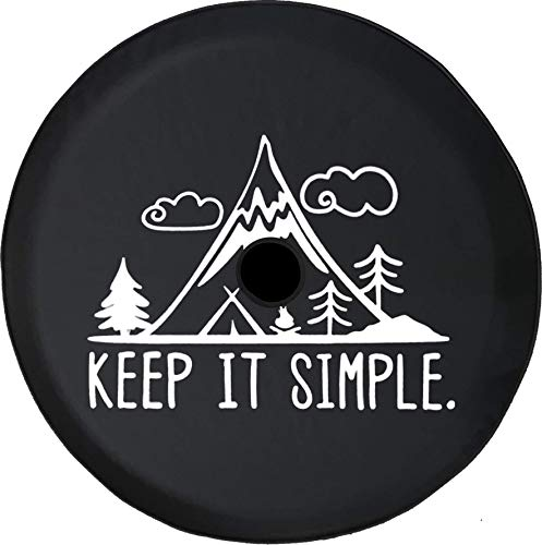 (Pike Outdoors JL Series Spare Tire Cover Backup Camera Hole Keep it Simple Mountains Clouds Trees Black 32 in)