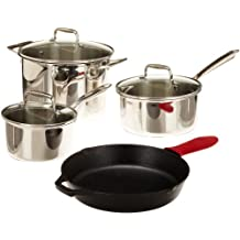 Lodge SC90SET 8-piece Stainless Steel and Cast Iron Cookware Set (Silver)
