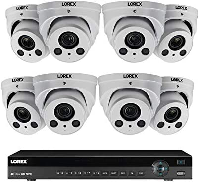 Lorex 8MP 4K Ultra HD IP 16 Channel 3TB N881A63B Series 2 HDD Slot NVR System with 4K 8xLNE8964AB Audio IP Dome Cameras, 4X Optical Zoom, 250FT Night Vision, Color Night Vision