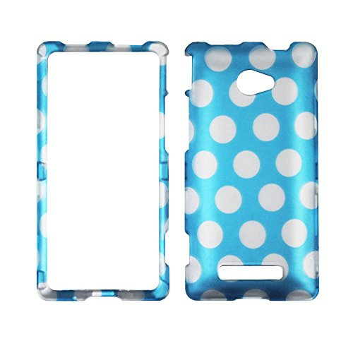 2D Polkadot on Blue HTC Windows Phone 8X / Accord / Zenith 6990 AT&T , T-Mobile , Verizon Hard Case Snap-on Hard Shell Protector Cover Phone Hard Case Case Cover Faceplates (Verizon Htc 8x)