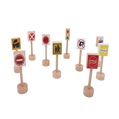 (sJIPIIIk552 10Pcs Wooden Road Traffic Sign People Blocks Pretend Play Kids Education Toy 10pcs)
