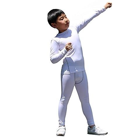 LANBAOSI Boys & Girls Long Sleeve Compression Shirts and Pant 2 PC Set (12, White) - Youth Base Set