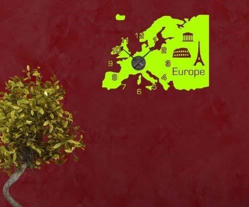 Wandtattoo Reloj Europa Mapa 72cmx54cm Pegatina Tatuaje Reloj de ...