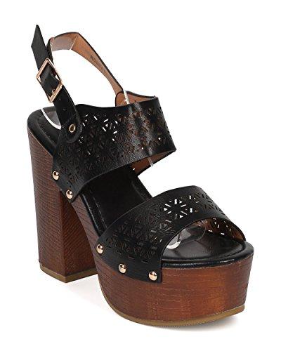 Women Peep Toe Block Heel Sandal - Slingback Platform Chunky Heel - Perforated Dressy Casual Versatile Sandal - HA44 By Alrisco - Black Leatherette (Size: (Girls Black Hazel Shoes)