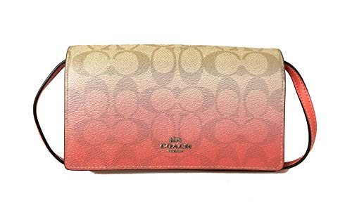 Coach Foldover Clutch Wallet Pebbled Leather Crossbody Bag F30256 (SV/Light Khaki/Pink ()
