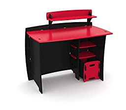 Legaré Kids Furniture Race Car Series Collection, No Tools Assembly 43-inch Complete Desk System with File Cart, Red and Black