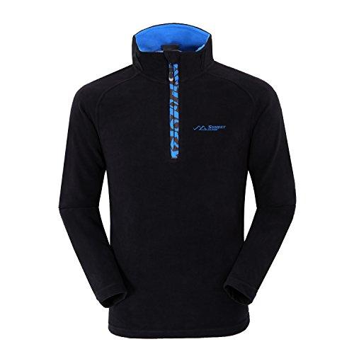 Summit Glory Men's Half-Zip Lightweight Fleece Pullover Black (Mens Fleece Half Zip Pullover)