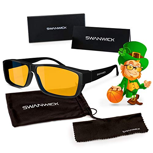 Swanwick Sleep Fitover Blue Light Blocking Glasses and Computer Eyewear - Wear OVER your Prescription Glasses or Readers