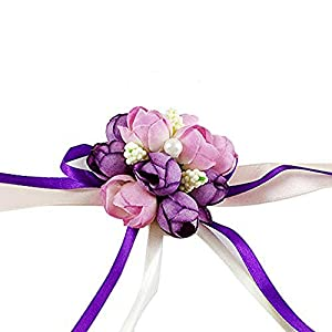 Wedding Wrist Flower Hand Flower Wristband Corsage for Wedding/Party/Prom/Children Dance Show, Pack of 4 (Purple) 55